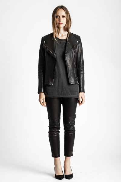 Shop Emerging Conscious Avant-garde Gender-free Brand Venia Collection Black Rillon Collarless Leather Moto Jacket at Erebus