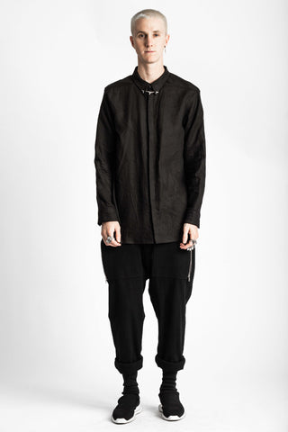 Shop Emerging Conscious Avant-garde Genderless Brand Venia Collection Black Zea Shirt with 3D Printed Tie Bar at Erebus