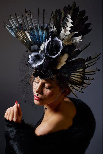 Shop emerging slow fashion milliner Valeria Agostini Gazza headpiece - Erebus