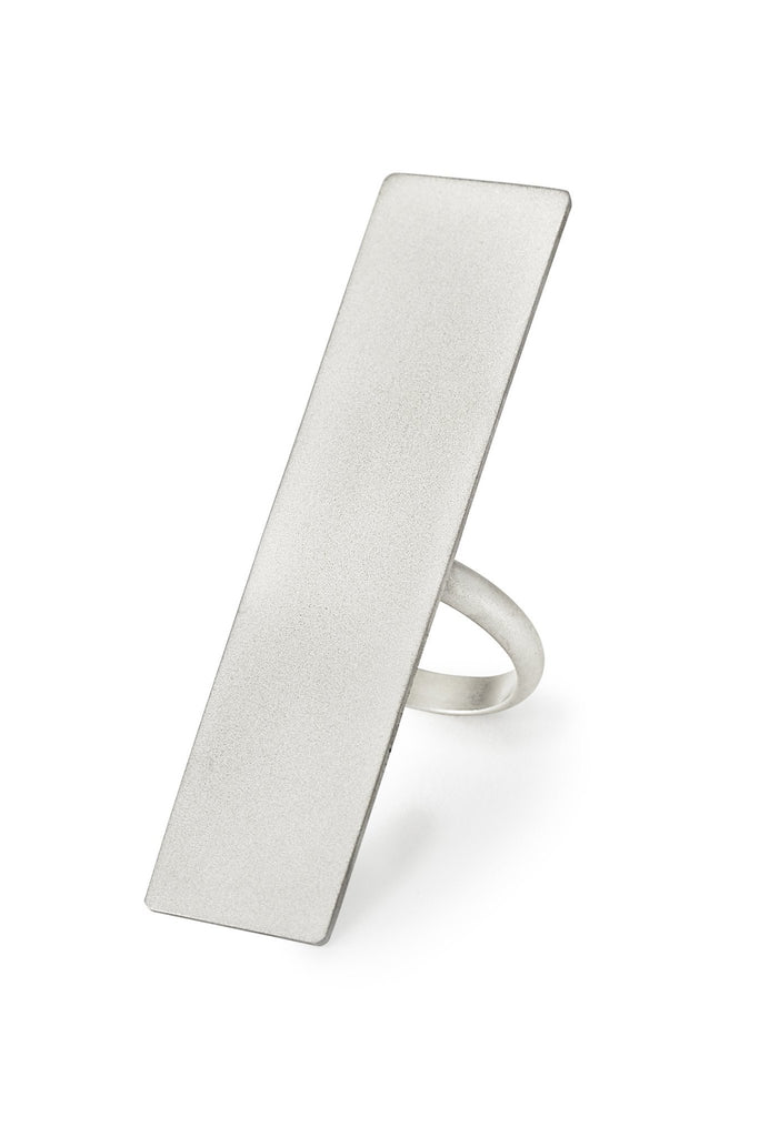 Shop Emerging Structural Jewellery Brand Conservation of Matter Silver Vertical Rectangle Ring at Erebus
