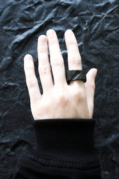 Shop Emerging Avant-garde Jewellery Brand Surface/Cast Black Concrete Void Medium Ring at Erebus