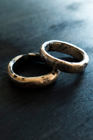 Shop Emerging Slow Fashion Avant-garde Jewellery Brand Surface Cast Blackened Bronze Void Stack Rings at Erebus