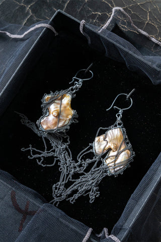 Shop Emerging Slow Fashion Genderless Avant-garde Designer Mark Baigent Spittelberg Collection Sterling Silver and Pearl Wells Pearl Earrings at Erebus
