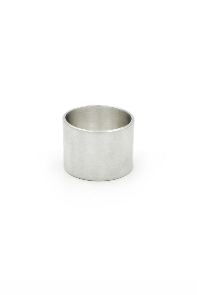 Shop Emerging Structural Jewellery Brand Conservation of Matter Wide Matte Silver Band Ring at Erebus