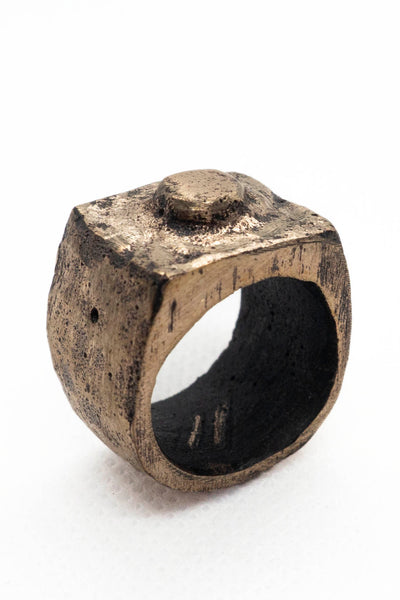 Shop Emerging Slow Fashion Avant-garde Jewellery Brand Surface Cast Blackened Bronze Worn Medium Ring at Erebus