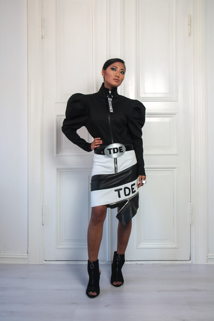Shop Emerging Contemporary Urban Conscious Womenswear Brand Too Damn Expensive Black and White Twist Zip Leather Skirt at Erebus