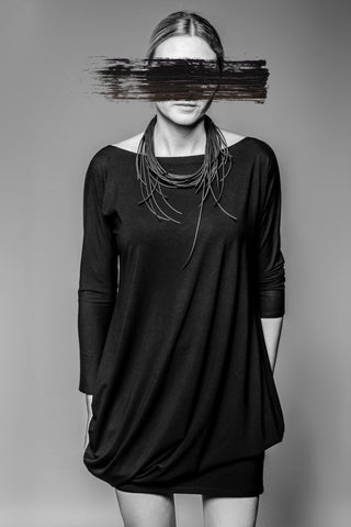 Shop Emerging Avant-garde Slow Fashion Womenswear Brand MAKS Drape Multiway Dress at Erebus
