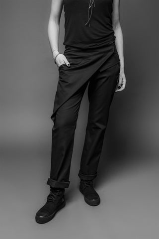 Shop Emerging Conscious Dark Fashion Brand MAKS AW19 Black Asymmetric Cut Pants at Erebus