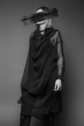 Shop Emerging Conscious Dark Fashion Brand MAKS AW19 Black Drape Sheer Layer Tunic at Erebus