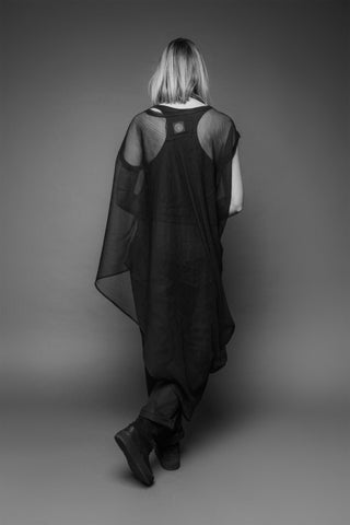 Shop Emerging Conscious Dark Fashion Brand MAKS AW19 Black Sheer Layer Tunic at Erebus