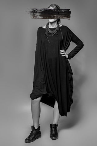Shop Emerging Avant-garde Slow Fashion Womenswear Brand MAKS Asymmetric Long Dress at Erebus