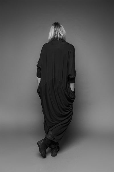 Shop Emerging Conscious Dark Fashion Brand MAKS AW19 Black V Tunic Dress at Erebus