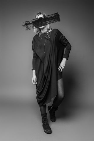 Shop Emerging Conscious Dark Fashion Brand MAKS AW19 Black Tunic Dress at Erebus