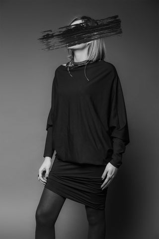 Shop Emerging Conscious Dark Fashion Brand MAKS AW19 Black Draped Dress Tunic at Erebus