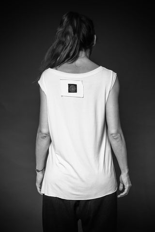Shop Conscious Dark Fashion Brand MAKS Design AW2020 White Sleeveless Basic Asymmetric Top at Erebus
