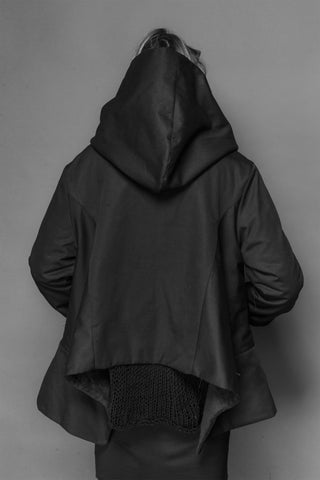 Shop Emerging Conscious Dark Fashion Brand MAKS AW19 Black Cube Jacket at Erebus