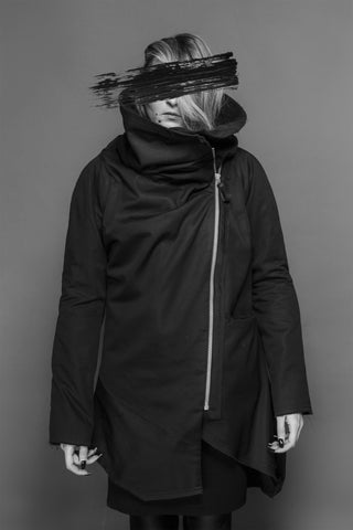 Shop Emerging Conscious Dark Fashion Brand MAKS AW19 Black High Collar Coat at Erebus