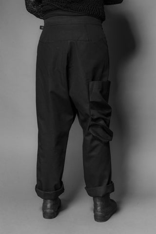 Shop Emerging Conscious Dark Fashion Brand MAKS AW19 Black Genderless Fisherman Pants at Erebus