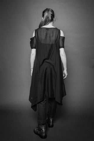 Shop Conscious Dark Fashion Brand MAKS Design SS20 Black Sheer Ghost Tunic with pockets at Erebus