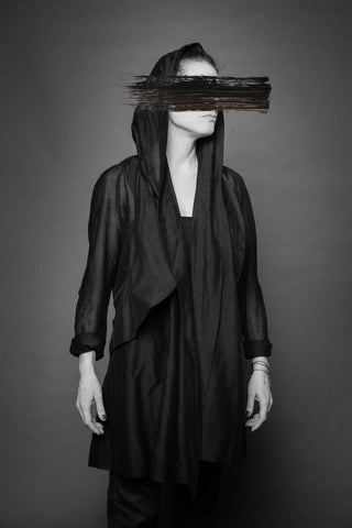 Shop Conscious Dark Fashion Brand MAKS Design SS20 Black Sheer Hooded Phantom Blouse with pockets at Erebus