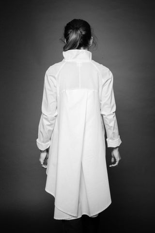 Shop Conscious Dark Fashion Brand MAKS Design SS20 White Overlapping Back Shirt at Erebus