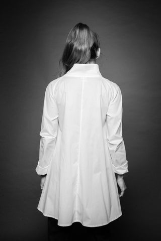 Shop Conscious Dark Fashion Brand MAKS Design SS20 White Asymmetric Front Shirt at Erebus