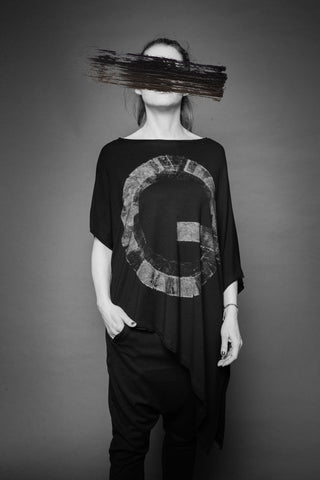 Shop Conscious Dark Fashion Brand MAKS Design SS20 Black Hand-painted Asymmetric Top at Erebus
