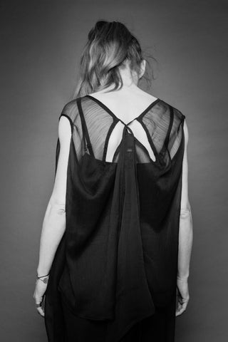 Shop Conscious Dark Fashion Brand MAKS Design SS20 Black Sheer Sleeveless Transformable Drape Tunic with pockets at Erebus