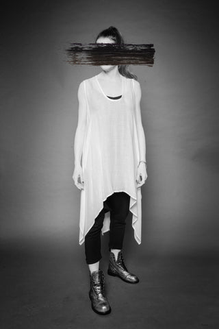 Shop Conscious Dark Fashion Brand MAKS Design SS20 White Jersey Transformable Drape Sleeveless Tunic at Erebus