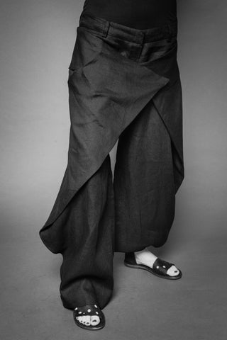 Shop Conscious Dark Fashion Brand MAKS Design SS20 Black Linen Overlapping Trousers at Erebus