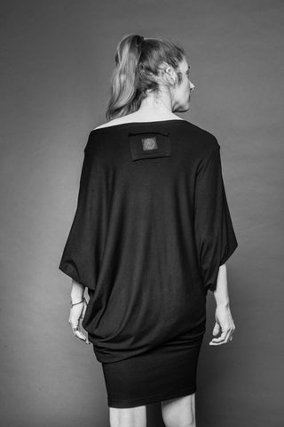 Shop Conscious Dark Fashion Brand MAKS Design SS20 Black Drape Shirt Tunic Mini Dress at Erebus