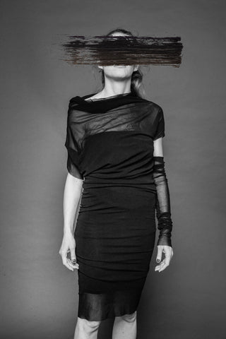 Shop Conscious Dark Fashion Brand MAKS Design SS20 Black Fitted Tube Dress at Erebus
