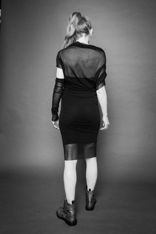 Shop Conscious Dark Fashion Brand MAKS Design SS20 Black Sheer Mash Dress at Erebus