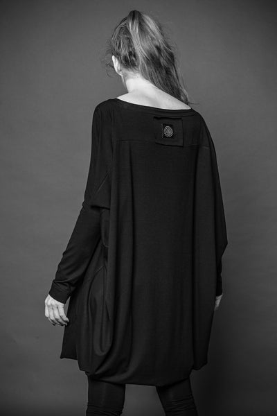Shop Conscious Dark Fashion Brand MAKS Design AW2020 Black Long Sleeve Cube Back Top at Erebus