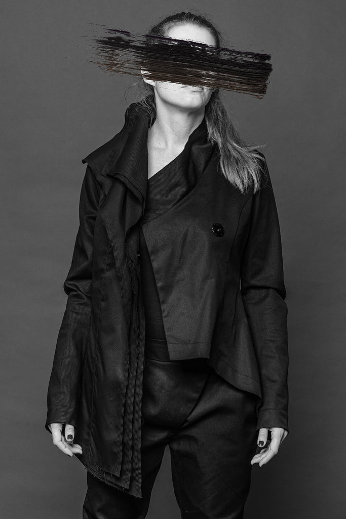Shop Conscious Dark Fashion Brand MAKS Design AW2020 Black 3 Collars Draped Jacket at Erebus