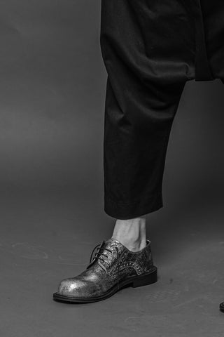 Shop Conscious Dark Fashion Brand MAKS Design AW2020 Silver Leather Derby Shoes at Erebus