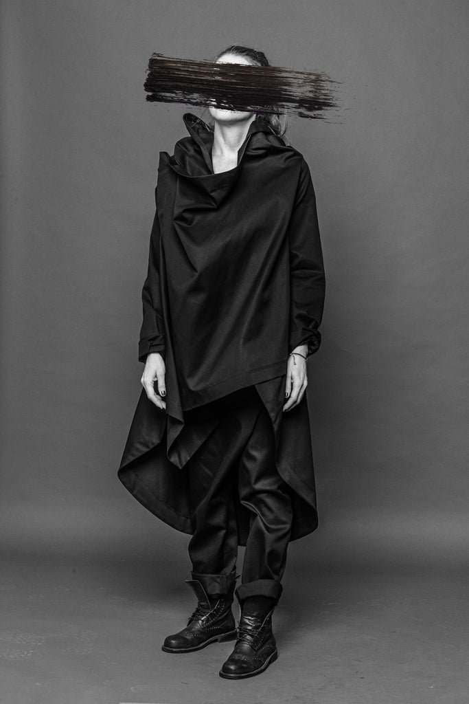 Shop Conscious Dark Fashion Brand MAKS Design AW2020 Black Draping Hoodie Long Coat at Erebus