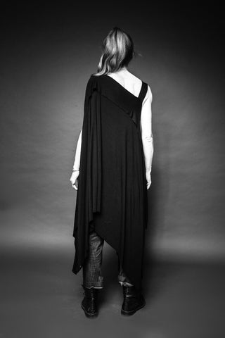 Shop Conscious Dark Fashion Brand MAKS Design SS20 Black Asymmetric Multiway Maxi Tunic at Erebus
