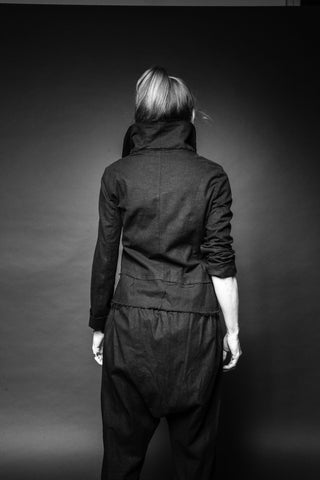 Shop Conscious Dark Fashion Brand MAKS Design SS20 Black Linen Sasha 2 Wrap Collar Jacket at Erebus