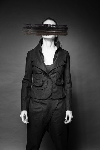 Shop Conscious Dark Fashion Brand MAKS Design SS20 Slim Black Linen Sasha Double Collars Jacket at Erebus