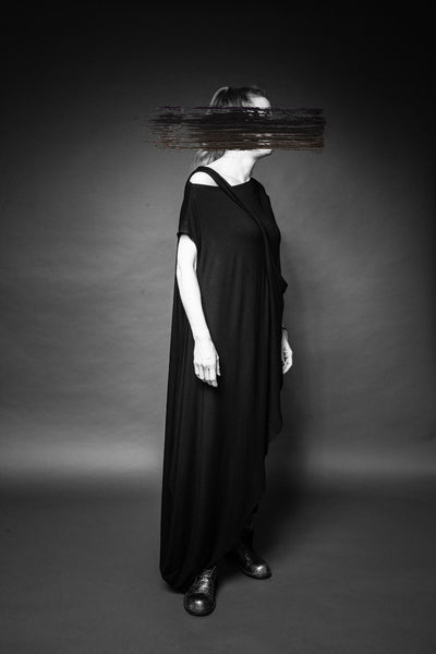 Shop Conscious Dark Fashion Brand MAKS Design SS20 Black Asymmetric Maxi Tunic at Erebus