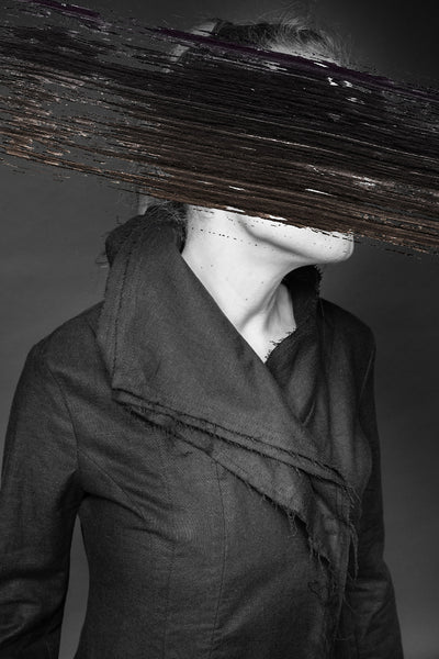 Shop Conscious Dark Fashion Brand MAKS Design SS20 Slim Black Linen 3 Collars Coat at Erebus