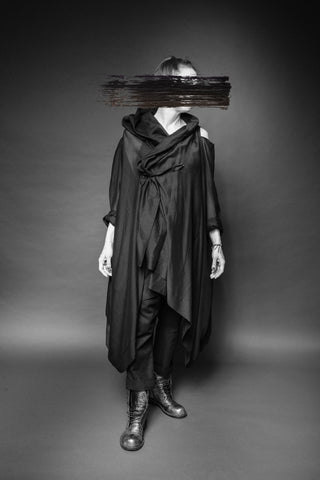 Shop Conscious Dark Fashion Brand MAKS Design SS20 Black Sheer Berlin Cold Shoulder Coat Blouse at Erebus