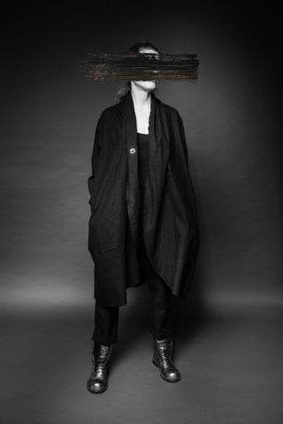Shop Conscious Dark Fashion Brand MAKS Design SS20 Black Linen Athens Coat at Erebus