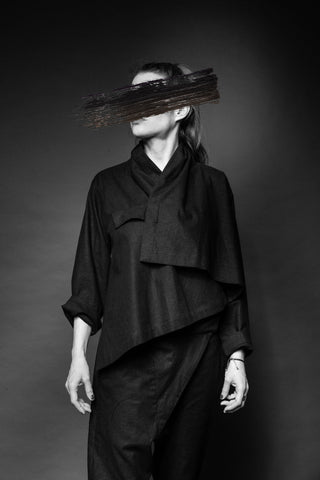 Shop Conscious Dark Fashion Brand MAKS Design SS20 Black Linen Short Kimono Jacket at Erebus