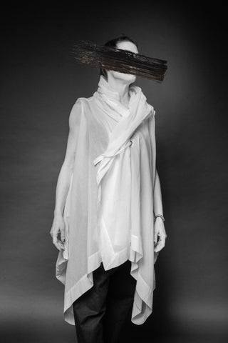 Shop Conscious Dark Fashion Brand MAKS Design SS20 White Sleeveless Berlin Coat Tunic at Erebus