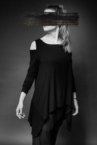 Shop Conscious Dark Fashion Brand MAKS Design SS20 Black Cold Shoulder Ghost Top at Erebus