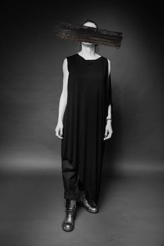 Shop Conscious Dark Fashion Brand MAKS Design SS20 Black Asymmetric Tunic at Erebus