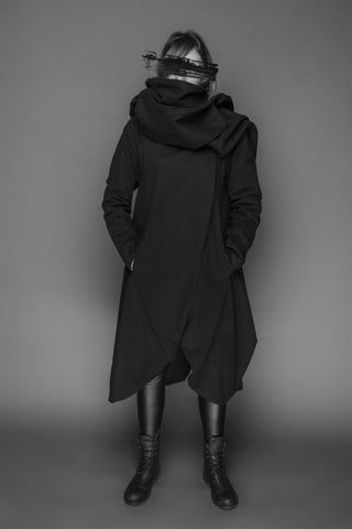 Shop Emerging Conscious Dark Fashion Brand MAKS AW19 Black Scarf Coat at Erebus