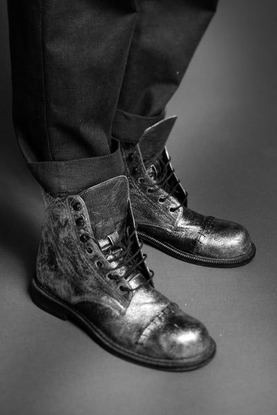 Shop Conscious Dark Fashion Brand MAKS Design AW2020 Silver Leather Lace Up Boots at Erebus